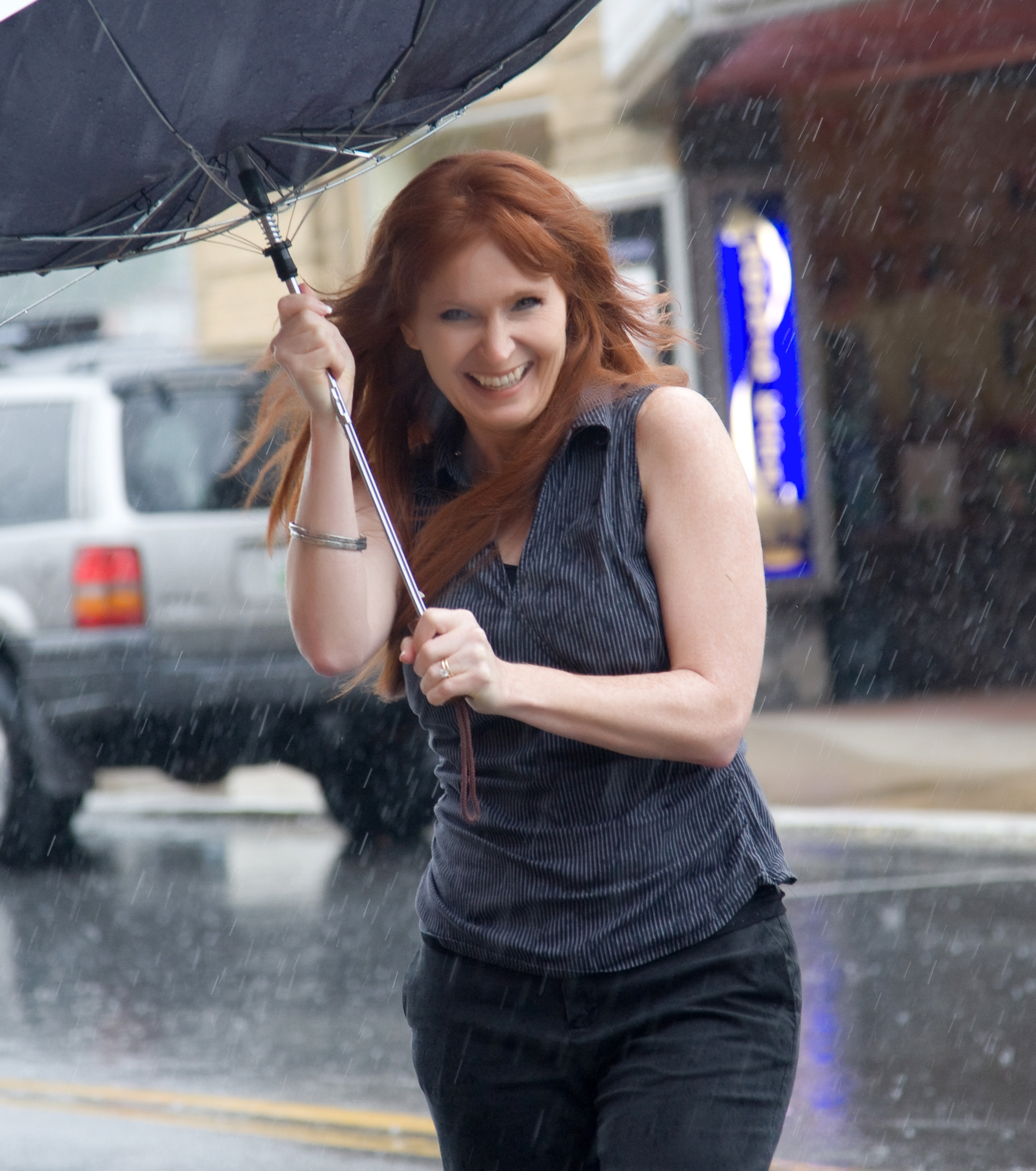 caught in rain close up laughing – JO ANN FORE